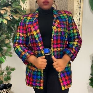 Vintage ColorBlock Wool Blend Blazer